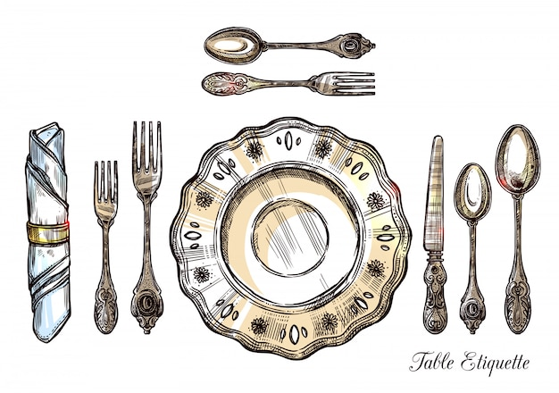 Table etiquette hand drawn illustration