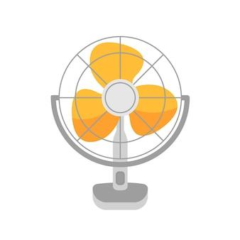 테이블 팬, 바람 송풍기 벡터 일러스트 레이 션. 공기 냉각 장치, 흰색 배경에 고립 된 선풍기. 가정용 물건, 회전하는 날이 있는 가전 제품. 여름 날씨 속성입니다.