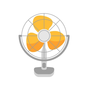 Table fan, wind blower vector illustration. air cooling device, electric fan isolated on white background. household object, domestic appliance with rotating blades. summer weather attribute.