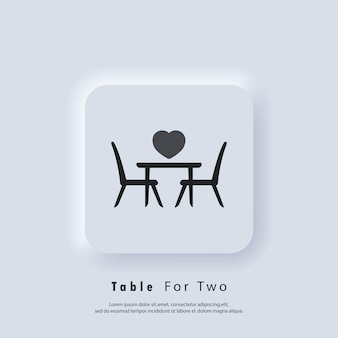 2人用の席。テーブルと椅子。 2人用のダイニングテーブルと椅子。ベクター。 uiアイコン。 neumorphic uiuxの白いユーザーインターフェイスのwebボタン。