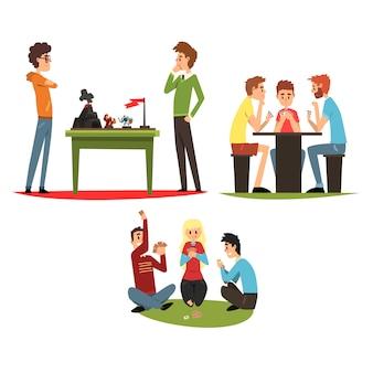 テーブルゲームセット、ボードゲームをプレイする友人、一緒に時間を過ごす友人のグループイラスト