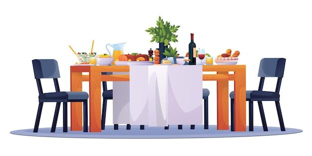 Накрытый стол праздничный ужин еда посуда напитки и стулья