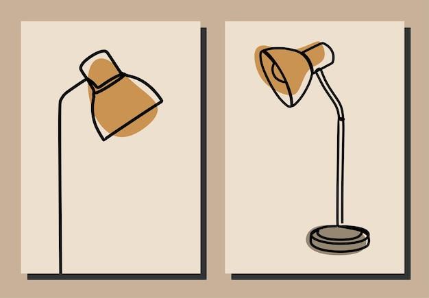 Table lamp oneline continuous line art premium vector set