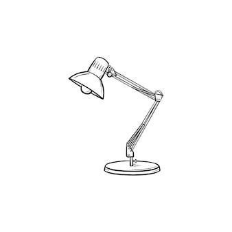 Настольная лампа прожектор рисованной наброски каракули значок. допрос, перекрестный допрос, допрос, написание концепции. векторная иллюстрация эскиз для печати, интернета и инфографики на белом фоне.
