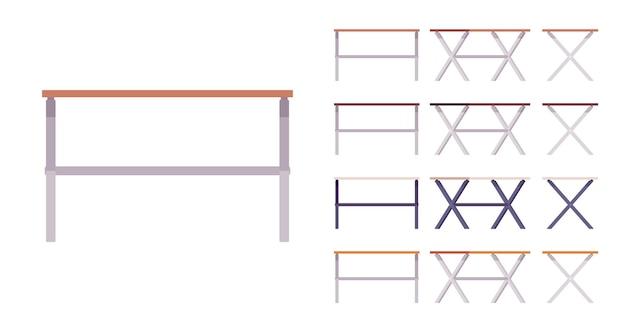 テーブルモダンセット。木と金属のデザイン、仕事や勉強のための家庭とオフィスの産業用デスク。白い背景、さまざまなビューと色で隔離のベクトルフラットスタイルの漫画イラスト