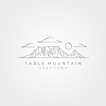 테이블 마운틴 풍경 라인 아트 벡터 기호 그림 디자인, 케이프 타운 국립 공원 라인 아트 스타일