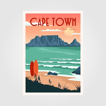Table mountain view in cape town vintage poster