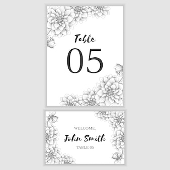 Table number card with hand drawn flower decoration