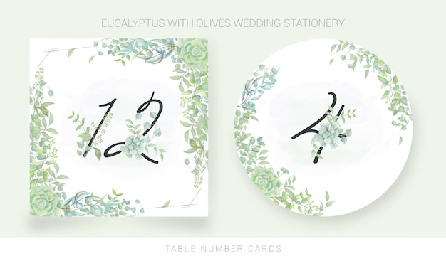 Table number card with watercolor leaves