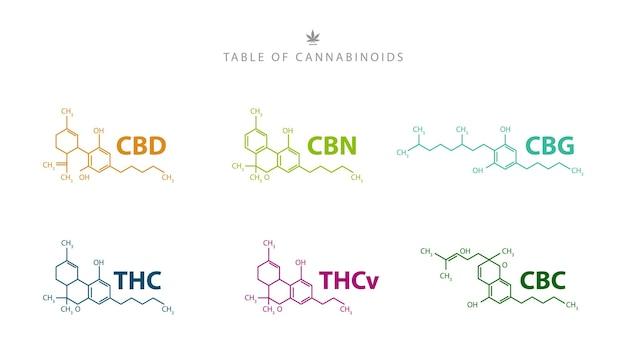 カンナビノイドの表。分離された天然カンナビノイドの化学式