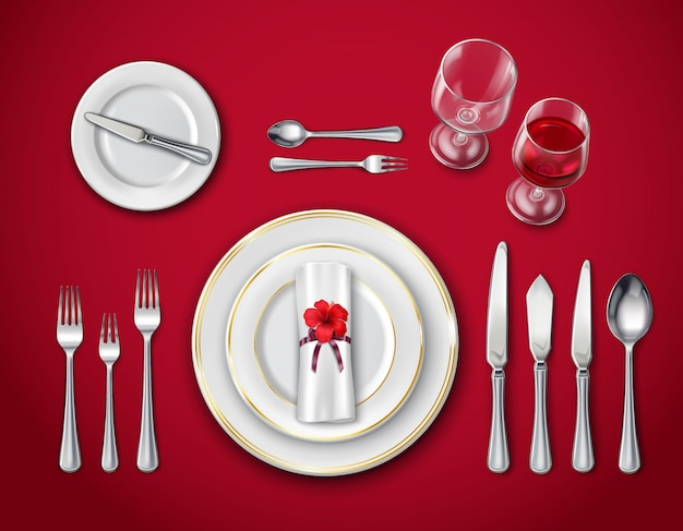 Table place setting on red