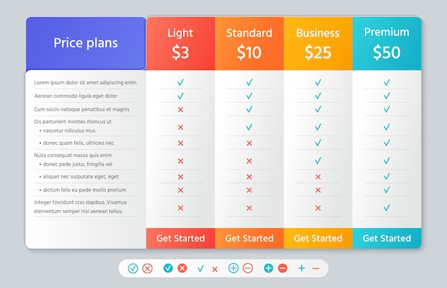 Table price chart.   illustration. comparison plan template.
