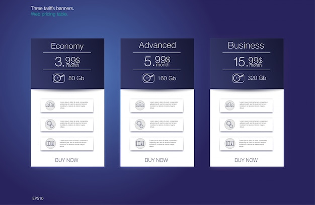 Table price for hosting, for the tariffs and price lists. web elements.