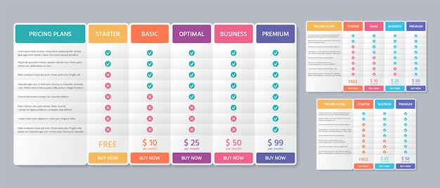 Table price plan. comparison data template.