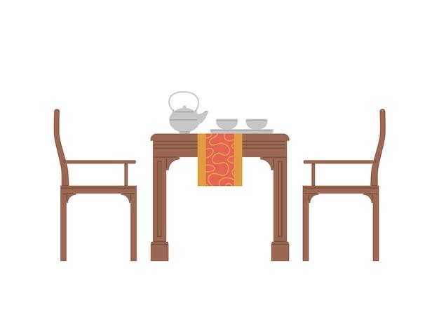 전통 일본 또는 중국 다도를위한 테이블 제공