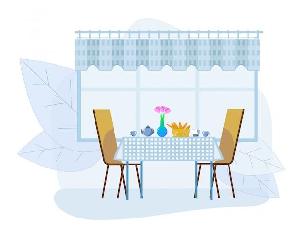 주전자, 컵 및 신선한 빵집과 함께 제공되는 테이블