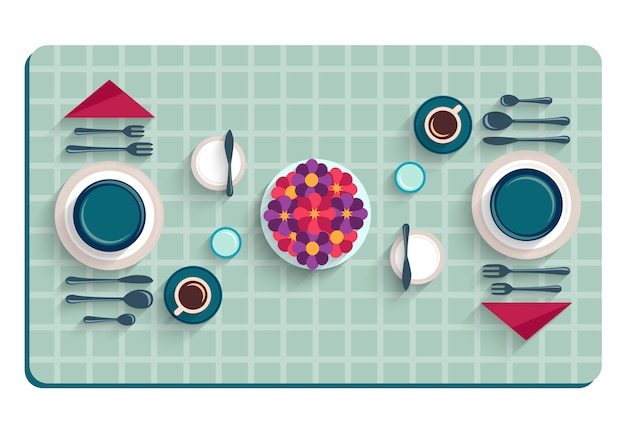 朝食用のテーブルセッティング。