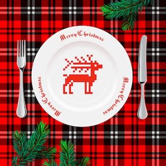 크리스마스 저녁 식사를위한 테이블 세팅