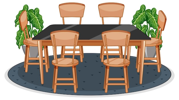 Table and six chairs on carpet