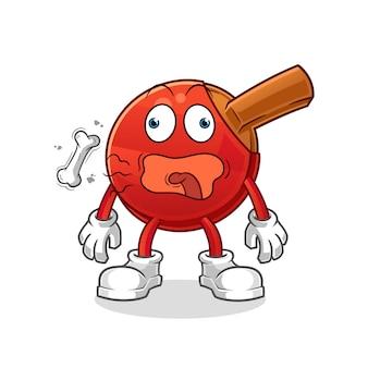 Table tennis bat burp mascot. cartoon
