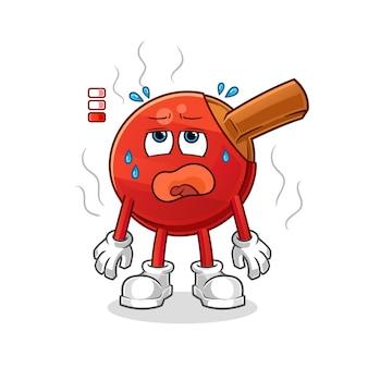 Table tennis bat low battery mascot. cartoon