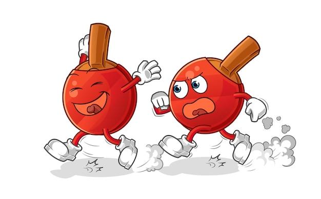 Table tennis bat play chase cartoon. cartoon mascot