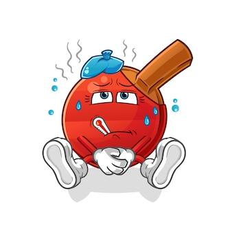 Table tennis bat sick . cartoon character
