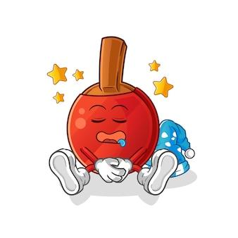 Table tennis bat sleeping character. cartoon mascot