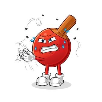 Table tennis bat swat the fly character. cartoon mascot