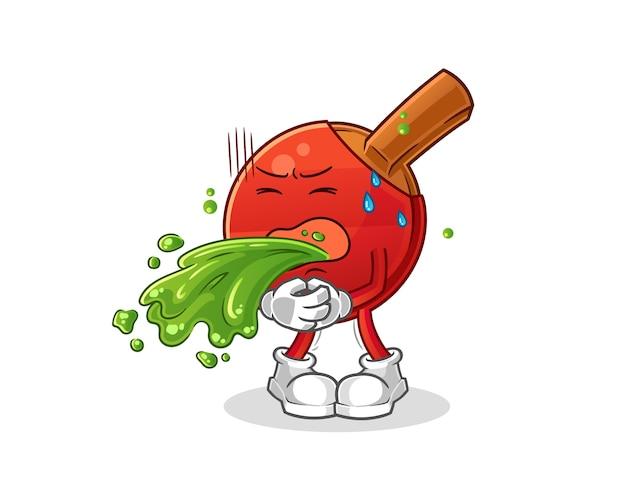 Table tennis bat throw up cartoon. cartoon mascot