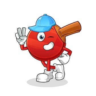 Персонаж мальчика битой настольного тенниса. мультфильм талисман