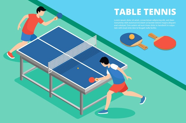 Table tennis concept illustration with opponents