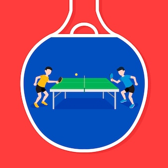 Table tennis concept illustration with players