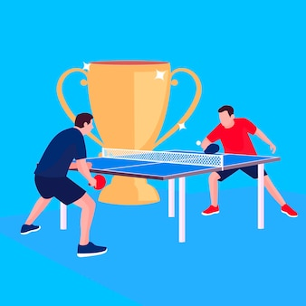 Table tennis concept with trophy