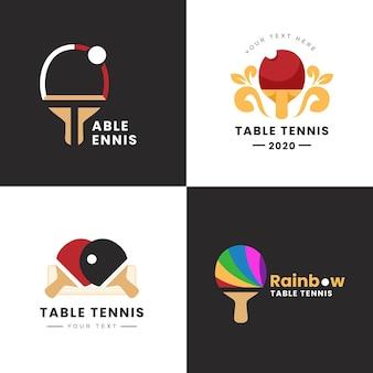 Дизайн коллекции логотипа настольного тенниса