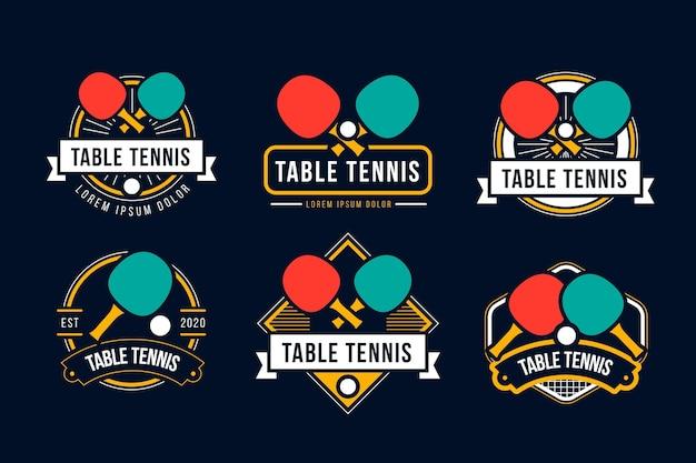 Collezione di logo di ping pong
