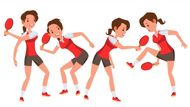 Table tennis player female character set