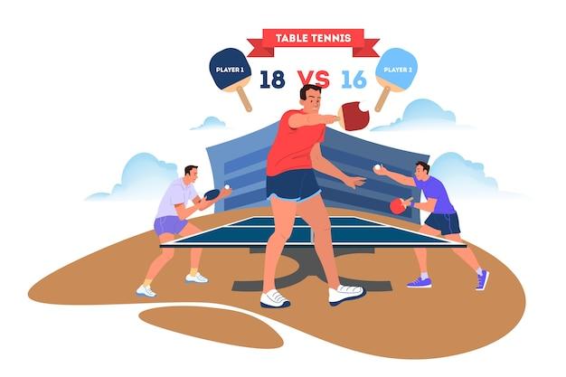 Игрок в настольный теннис держит ракетку. тренировка игроков в настольный теннис.