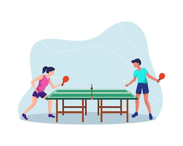 卓球選手、ピンポンをする男の子と女の子、ピンポンを楽しんでいます。アスリートイラスト、卓球ピンポンマッチ。フラットスタイルで Premiumベクター