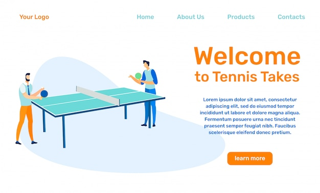 Table tennis takes landing page  template