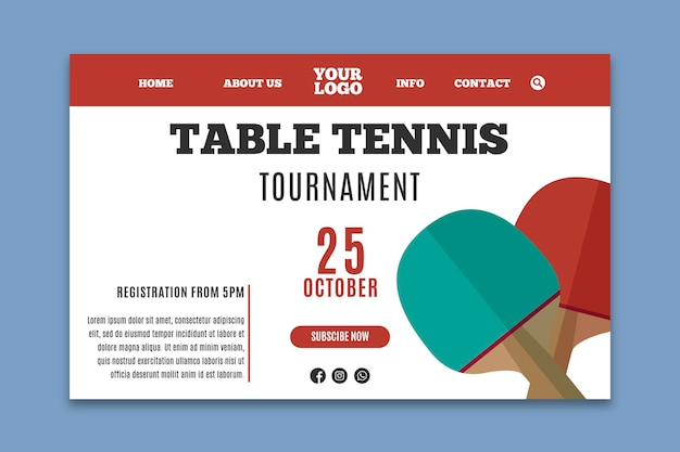 卓球テンプレートランディングページ