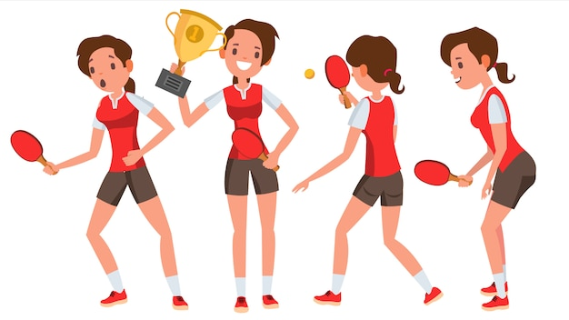 Table tennis young woman player character set