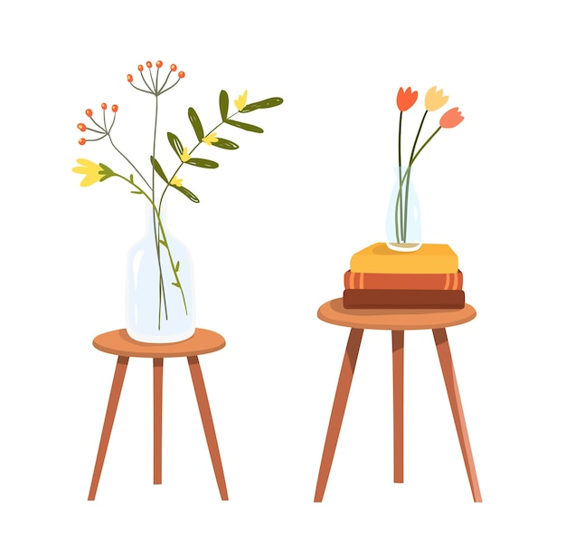 Table with books stack and flowers in vase vector flat hand drawn clipart.