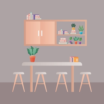 家具デザインの前に椅子が置かれたテーブル、ホームルームのインテリア、インテリア、リビング、アパート、住宅のテーマ