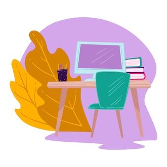 Стол с экраном компьютера, книгами и карандашами. рабочее место студента для учебы и выполнения домашних заданий, кабинет внештатного сотрудника. литература и публикации на столе, вектор в плоском стиле