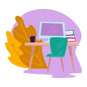 Table with computer screen, books and pencils. workplace of student for studying and doing homework, office of freelancer of worker. literature and publications on desk, vector in flat style