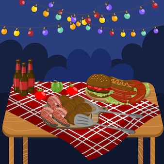 Table with grilled beef steaks, sausages, salmon, burgers, night barbecue party with festive illumination lights   illustration