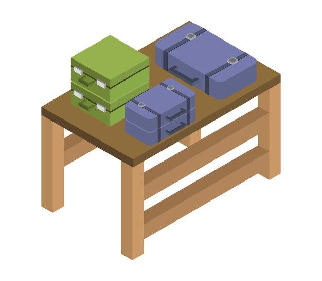 等尺性旅行スーツケースのテーブル