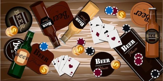 카드 놀이를 위한 항목이 있는 테이블 포커 도미노 파티 아버지의 날 인사말 카드