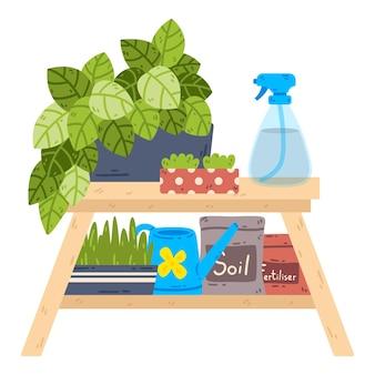 Стол с комнатными растениями и пульверизатором мешки с почвой и удобрениями